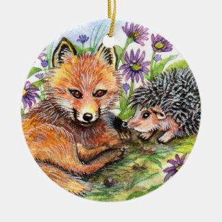 Wenig Fox und Igel Keramik Ornament