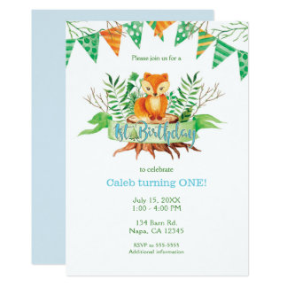 Wenig Fox-Waldwatercolor-1. Geburtstags-Party Karte