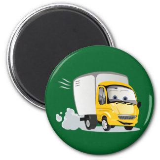 Wenig gelber Cartoon-LKW für Kinder! Runder Magnet 5,1 Cm