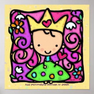 Wenig Girly Gelb Prinzessin-Print 12x12 weich Poster