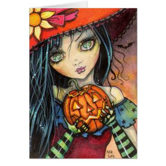 Wenig Halloween-Hexe-Fantasie-Kunst Karte