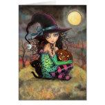 Wenig Halloween-Hexe-und schwarze Katzen-Karte