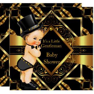 Wenig Herr-Baby-Duschen-Goldschwarzes brünett Karte