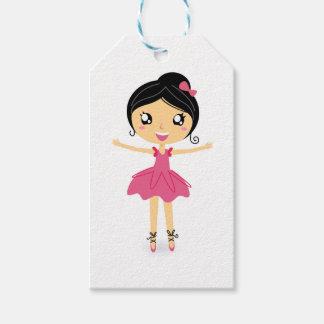 Wenig niedliches balerina Rosa auf Weiß Geschenkanhänger