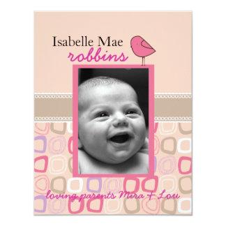 wenig Piepmatzdoppeltes versah Geburtsmitteilung 10,8 X 14 Cm Einladungskarte