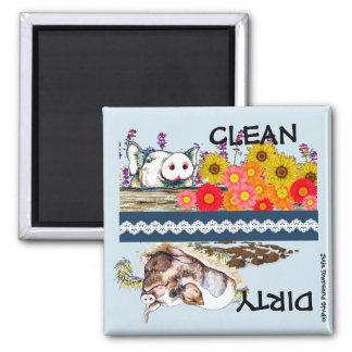 Wenig Piggy Spülmaschinen-Magnet sauber oder Quadratischer Magnet