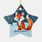 Wenig roter Fox im Schnee Keramik Ornament