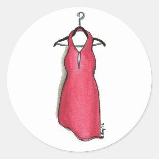 Wenig rotes Kleid auf dem Runder Aufkleber