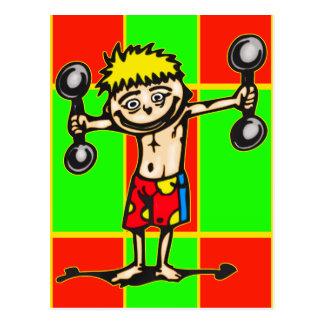 Wenig Weightlifting-Junge Postkarte