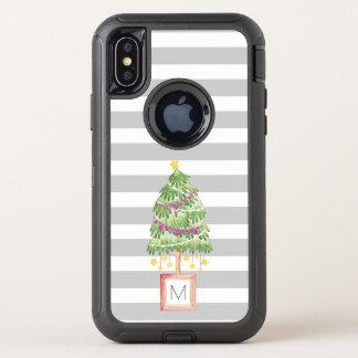 Wenig Weihnachtsbaum stripes OtterBox Defender iPhone X Hülle