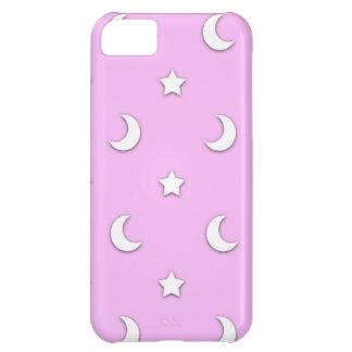 Wenig weiße Sterne und Monde auf Rosa iPhone 5C Hülle