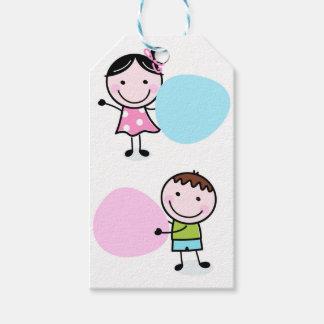 Wenige Gekritzel Kinder - Junge mit Mädchen Geschenkanhänger