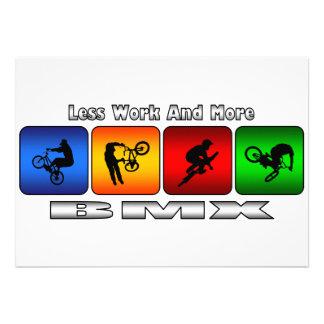 Weniger Arbeit und mehr BMX Personalisierte Einladungskarte