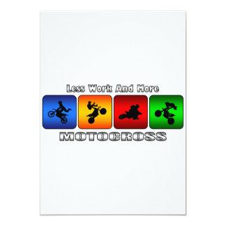 Weniger Arbeit und mehr Motocross 12,7 X 17,8 Cm Einladungskarte