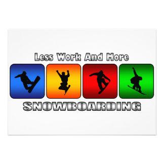 Weniger Arbeit und mehr Snowboarding Individuelle Ankündigung