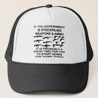 Wenn die Regierung Waffen und Munition speichert Truckerkappe
