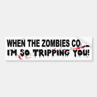 Wenn die Zombies ich kommen, sind Sie lustig so Autoaufkleber