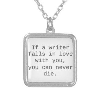 """""""Wenn ein Verfasser fällt in Liebe mit Ihnen…"""" Halskette Mit Quadratischem Anhänger"""