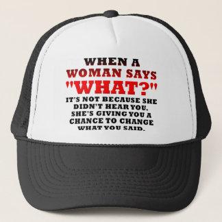Wenn eine Frau welche lustige zweite Chance sagt Truckerkappe
