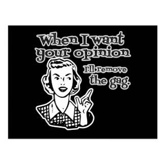 Wenn ich Ihre Meinung will, entferne ich den Gag Postkarte