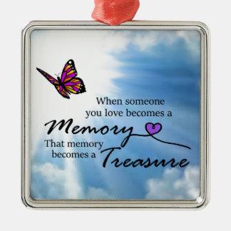 Wenn jemand Sie Liebe, Schmetterling Quadratisches Silberfarbenes Ornament