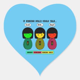 Wenn Kokeshi Puppen sprechen konnten Herz-Aufkleber