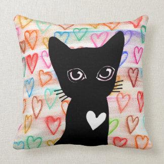 Wenn Sie schwarze Katzen der Liebe - Herzen für Kissen