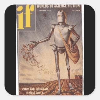 Wenn v01 n06 (1953-01.Quinn) _Pulp Kunst Quadratischer Aufkleber