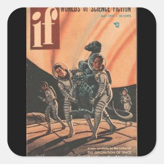 Wenn v02 n02 (1953-05.Quinn) _Pulp Kunst Quadratischer Aufkleber