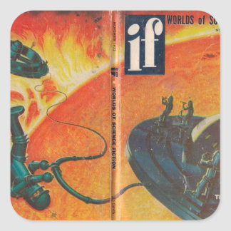 Wenn v02 n05 (1953-11.Quinn) _Pulp Kunst Quadratischer Aufkleber