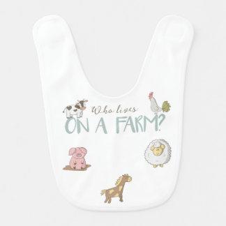 Wer auf einem Bauernhof-Baby-Schellfisch lebt Lätzchen