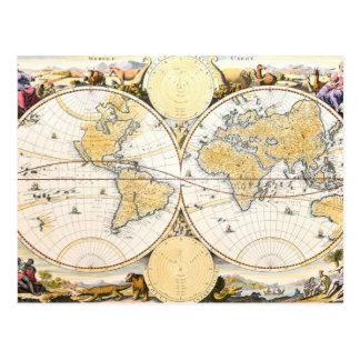 Werelt Caert, graviert von Daniel Stoopendaal Postkarte