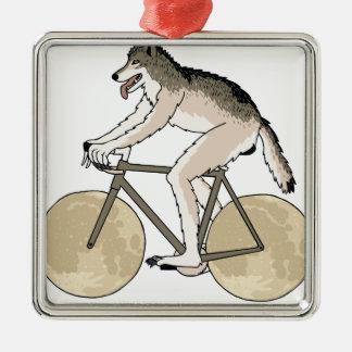 Werewolf-Reitfahrrad mit Vollmond-Rädern Quadratisches Silberfarbenes Ornament