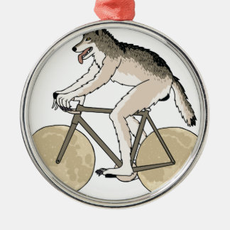 Werewolf-Reitfahrrad mit Vollmond-Rädern Rundes Silberfarbenes Ornament