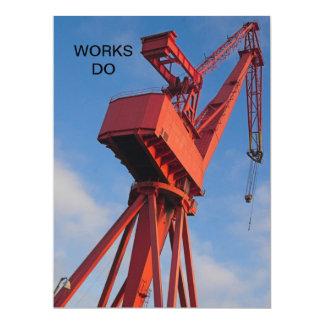 Werft-Kran-Arbeiten tun Einladung 16,5 X 22,2 Cm Einladungskarte