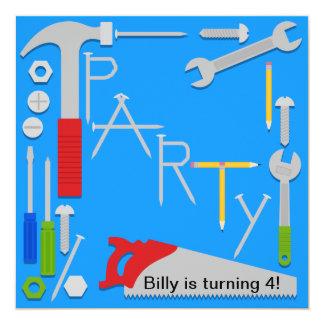Werkzeug-Werkstatt-Geburtstags-Party Einladung