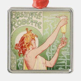 Wermut Robette - Alkohol-Vintages Plakat Quadratisches Silberfarbenes Ornament