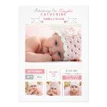Wertvolle Ankunfts-Rosa-Foto-Geburts-Mitteilung Ankündigung