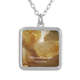 Wertvolle Edelstein-personalisierte Hochzeit Halskette Mit Quadratischem Anhänger