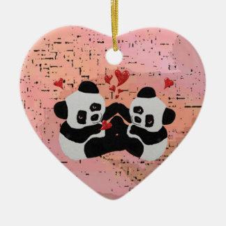 Wertvolle Panda-Herzen Keramik Herz-Ornament