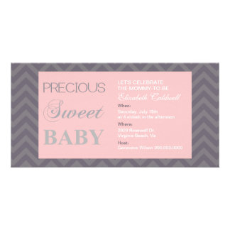 Wertvolle typografische/Zickzack Baby-Dusche laden Photogrußkarten