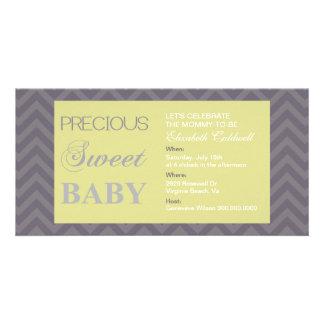Wertvolle Zickzack Baby-Dusche Einladen-Limon Photogrußkarten