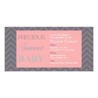 Wertvolle Zickzack Baby-Dusche Einladen-rosa Individuelle Photo Karten
