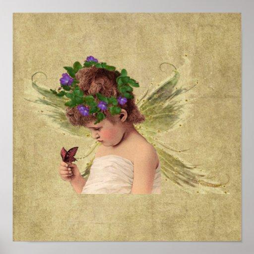 Wertvoller Druck des Engels-Mädchen-w/butterfly- Posterdruck
