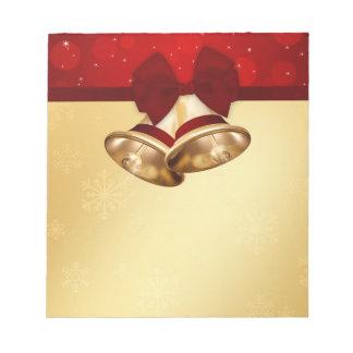 Wertvolles goldenes Weihnachten Bell - Notizblock