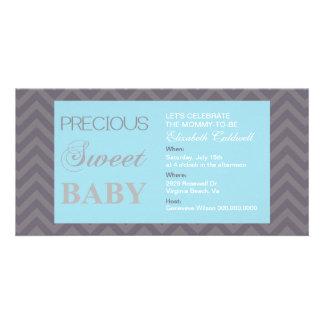 Wertvolles Zickzack Baby-Dusche Einladen-Baby Blau Fotokarten