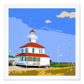 West End-Leuchtturm-Aquarell Quadratische 13,3 Cm Einladungskarte