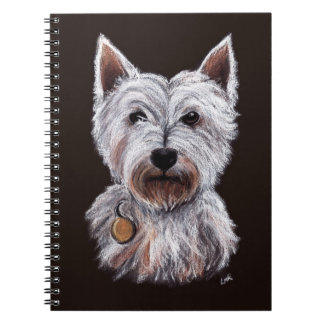West Highland Terrier Dog Pastel Pet Illustration Notiz Buch