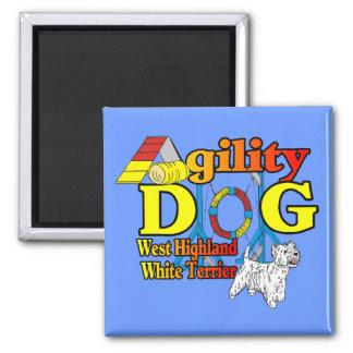 West_Highland_White_Terrier_Agility Quadratischer Magnet