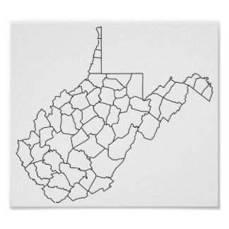 West- VirginiaLandkreis-leere Kontur-Karte Poster